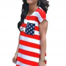 Star Patch Pocket Striped Flag Shirt Dress