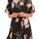 Black Floral Pattern Ruffle Hem Chiffon Dress