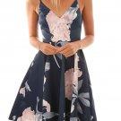 Navy Floral Print Asymmetric Hem Sway Dress