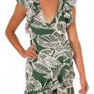 Green Leaf Vein Print Ruffle and Wrap Short Summer Dress
