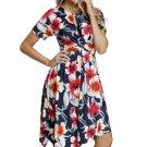 Navy Floral Print Twist Front Handkerchief Hem Dress