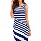 Navy White Striped Sleeveless Midi Shift Dress