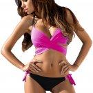 Rosy Wrap Front Halter Bikini Tie Side Bottom Swimsuit