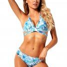 Blue Floral Printed Wrap Bikini 2pcs Swimsuit