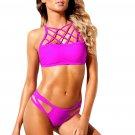 Fuchsia Lattice High Neck 2pcs Strappy Bikini Swimsuit
