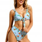 Light Blue Floral Print Tie Front High Waist Bikinis