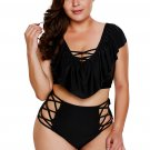Black Frill Tankini Crisscross High Waist Swimsuit