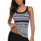 Black White Print Pattern Strappy Back 2pcs Tankini Swimsuit