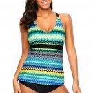 Blue Holiday Wave Tankini 2pcs Bathing Suit