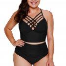 Black Strappy Neck Detail High Waist Swimsuit