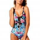 Flourish Tropical Print Lace Up One Piece Swimsuit