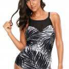 Ink Palm Leaf Print Beach Monokini Swimsuit