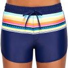Striped Print Accent Navy Blue Drawstring Board Shorts