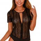 Black Button Front Sheer Floral Lace Bodysuit