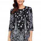 Black Grey Floral Print Flowy Blouse