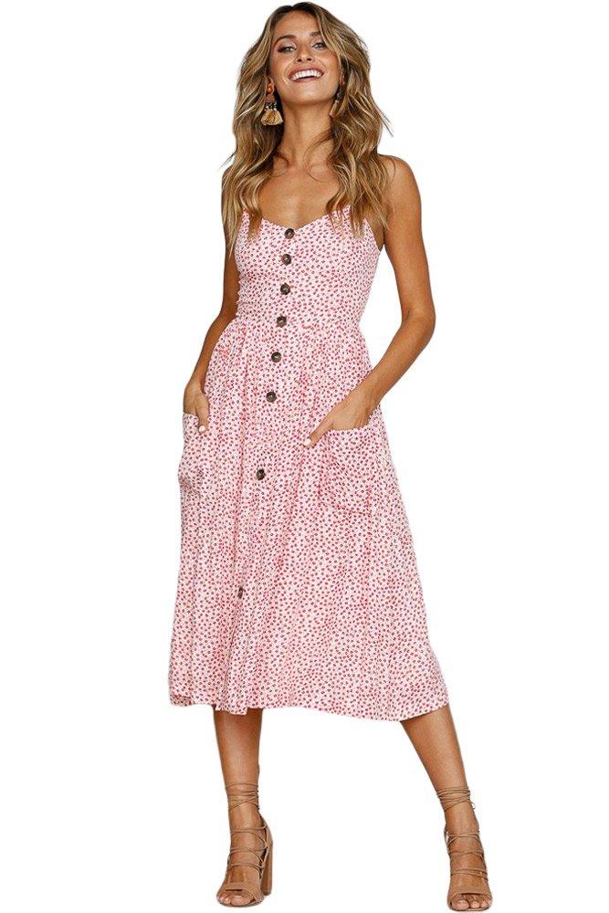 Pink Dotty Print White Button Down Sundress