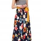 Fashion Navy Floral Scatter Striped Sleeveless Boho Dress