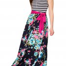 Stylish Blue Pink Floral Striped Sleeveless Boho Dress