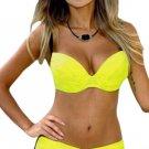 Sexy Yellow Padded Gather Push-up Bikini Set