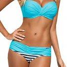 Striped Blue Padded Gather Push-up Bikini Set