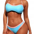 Light Blue Halter Bandeau Padded Bikini with Contrast Trim