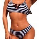 Classic Hammock Monochrome Striped Bikini Swimsuit
