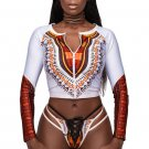 White African Print Zipped Tankini and Strappy Lace Up Swimsuit