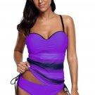 Purple Tie Dye Print Sweetheart Tankini Swimsuit