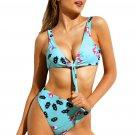Light Blue Rose Print Tie Front High Waist Bikinis