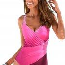 Rosy Ombre Tie Dye Wrap Front Teddy Swimsuit