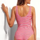 Red White Striped Cutout Tie Front Beach Monokini