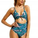 Leafy Print Cutout Tie Front Monokini Swimsuit