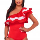 Red Ruffle One Shoulder Mesh Bodysuit