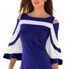 Blue White Colorblock Bell Sleeve Cold Shoulder Top