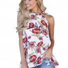 White Red Floral Back Cut out Sleeveless Top