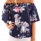 Navy Floral Print Half Sleeve Off Shoulder Blouse
