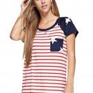 Star Short Sleeves Red Navy American Flag T-shirt