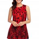 Red Black Floral Print Flowy Tank Top