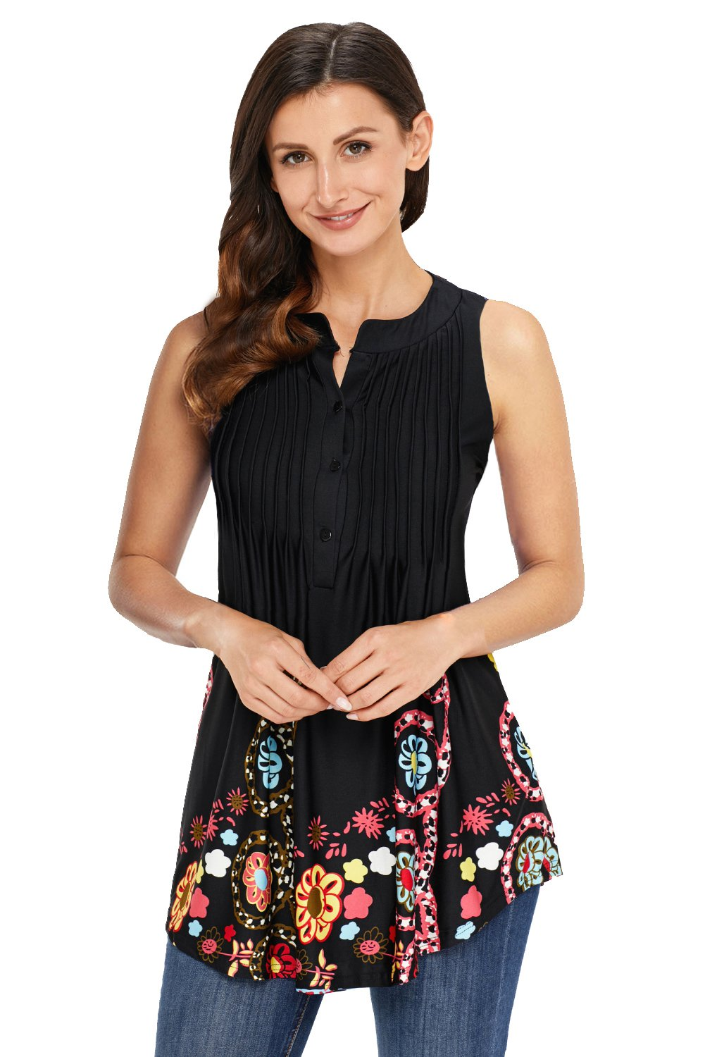 Cute Floral Print Black Ruched Tank Top