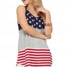 Gray Sleeveless Colorblock American Flag Print Tunic Top