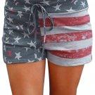 American Flag Print Print Charcoal Casual Shorts