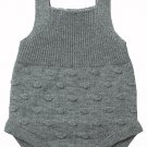Grey Ribbed&Spotted Cotton Knit Sleeveless Baby Romper