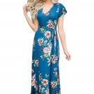 Navy Blue Floral Print Cap Sleeve Maxi Dress