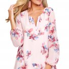 Pink Floral Print V Neck Chiffon Dress