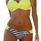 Striped Yellow Padded Gather Push-up Bikini Set