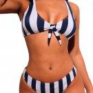 Navy White Striped Tie Front Detail Bikini Swimsuit