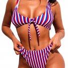 Triple Striped Tie Front 2pcs Bikini Swimsuit