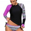 Contrast Purple Detail Long Sleeve Tankini Swimsuit