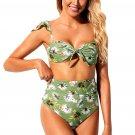Green Floral Print Versatile Bandeau Bikini High Waist Swimsuit