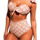White Polka Dot Versatile Bandeau Bikini High Waist Swimsuit